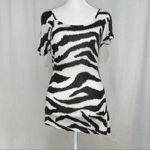 Rue 21 Womens Black & White Short Sleeve Top Small